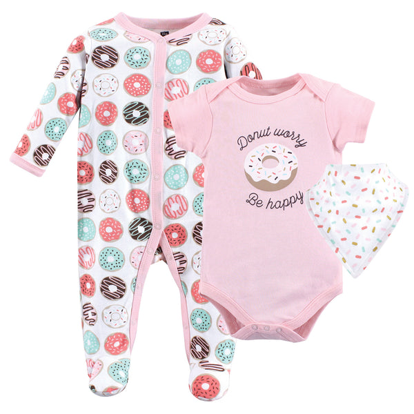 Hudson Baby Cotton Sleep and Play, Bodysuit and Bandana Bib Set, Donut Worry