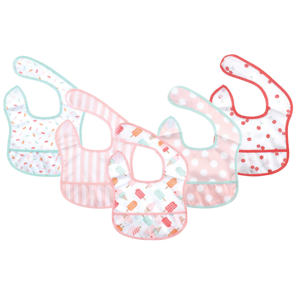 Hudson Baby Waterproof Polyester Bibs, Ice Cream