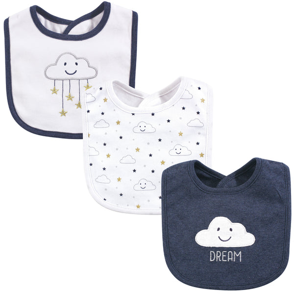 Hudson Baby Cotton Bibs, Navy Cloud
