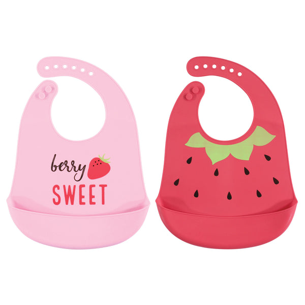 Hudson Baby Silicone Bibs, Strawberry