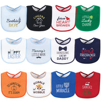 Hudson Baby Cotton Terry Drooler Bibs with Fiber Filling, Cute Boy Holiday Sayings