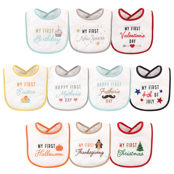Hudson Baby Cotton Terry Drooler Bibs with Fiber Filling, Holiday Birthday