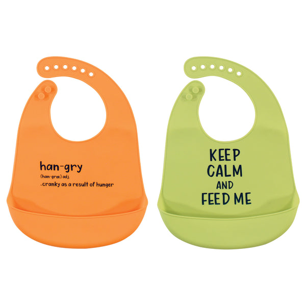 Hudson Baby Silicone Bibs, Hangry