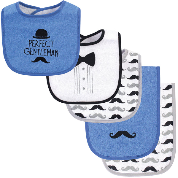 Hudson Baby Cotton Terry Bib and Burp Cloth Set, Perfect Gentleman