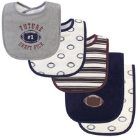 Hudson Baby Cotton Terry Bib and Burp Cloth Set, Football