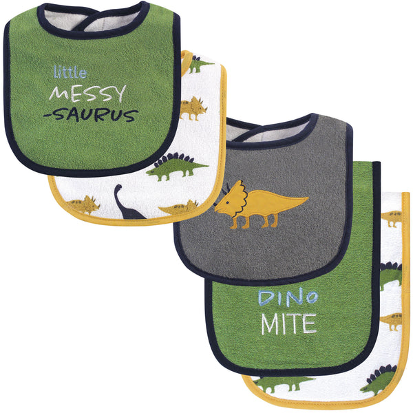 Hudson Baby Cotton Terry Bib and Burp Cloth Set, Messysaurus