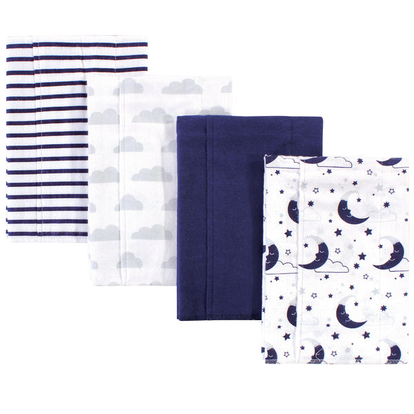Hudson Baby Cotton Flannel Burp Cloths, Moon