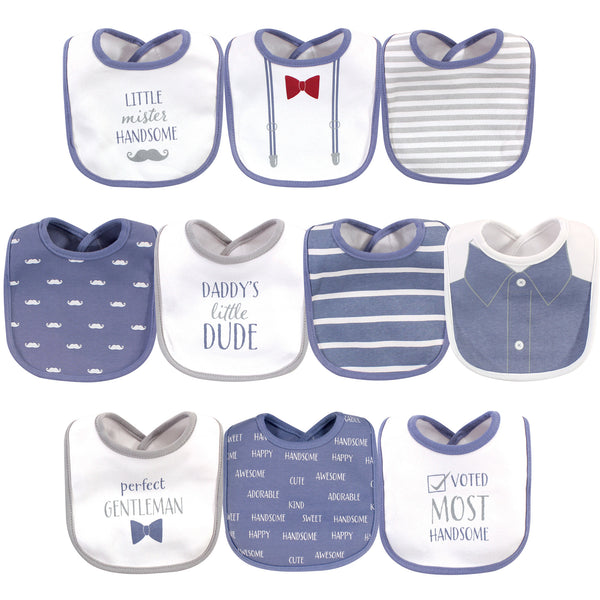 Hudson Baby Cotton Bibs, Little Mister Handsome