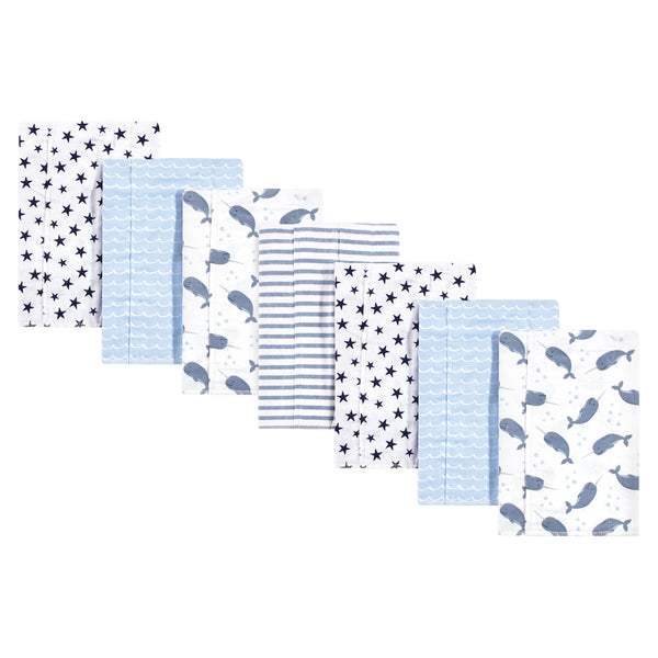 Hudson Baby Cotton Flannel Burp Cloths, Narwhal