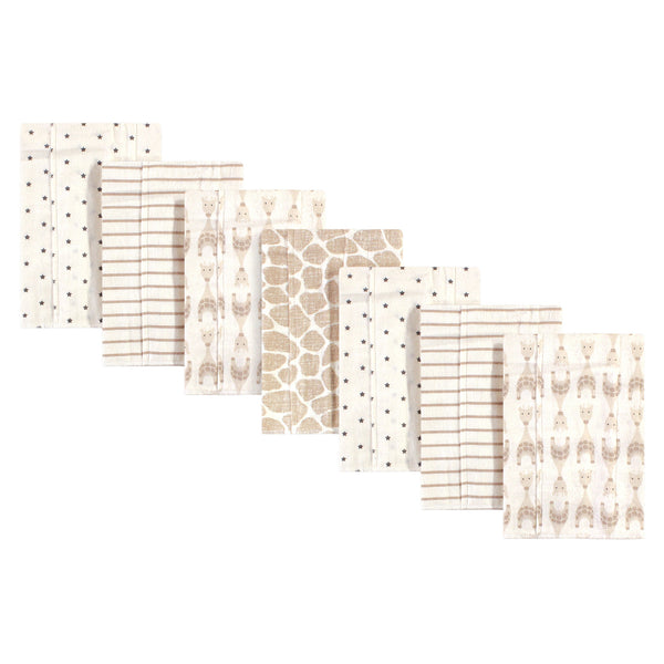 Hudson Baby Cotton Flannel Burp Cloths, Neutral Giraffe