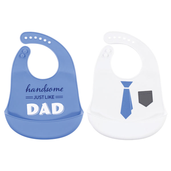 Hudson Baby Silicone Bibs, Handsome Just Like Dad