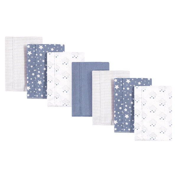 Hudson Baby Cotton Flannel Burp Cloths, Cloud Mobile Blue