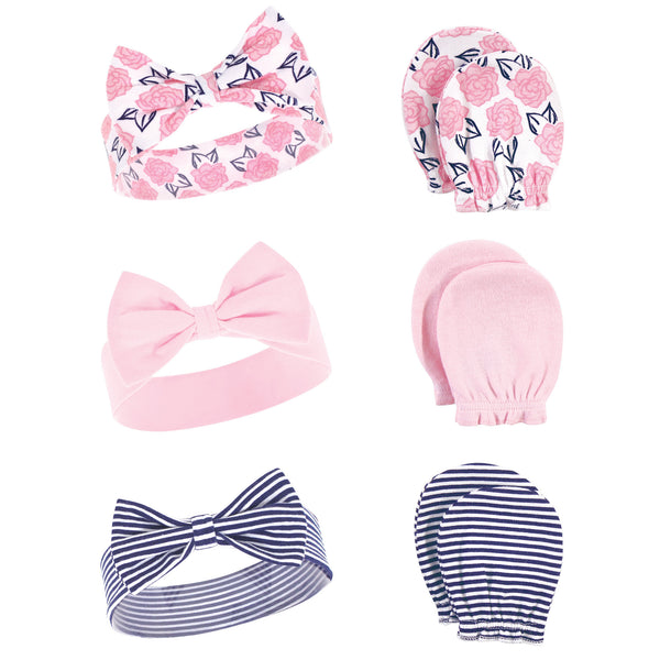 Hudson Baby Cotton Headband and Scratch Mitten Set, Navy Pink Floral