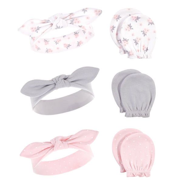 Hudson Baby Cotton Headband and Scratch Mitten Set, Pink Gray Floral