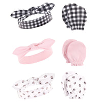 Hudson Baby Cotton Headband and Scratch Mitten Set, Lady Bug