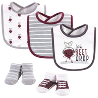 Hudson Baby Cotton Bib and Sock Set, Drop The Beet