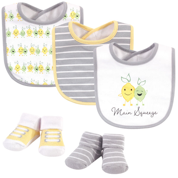 Hudson Baby Cotton Bib and Sock Set, Main Squeeze