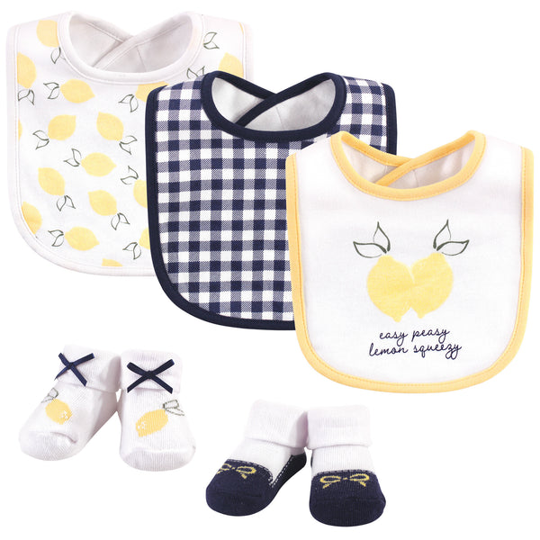 Hudson Baby Cotton Bib and Sock Set, Easy Peasy