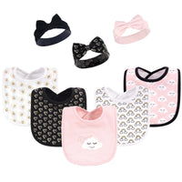 Hudson Baby Cotton Bib and Headband or Caps Set, Dream Love