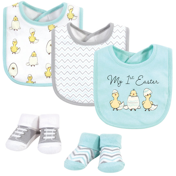 Hudson Baby Cotton Bib and Sock Set, Easter Chicks, One Size