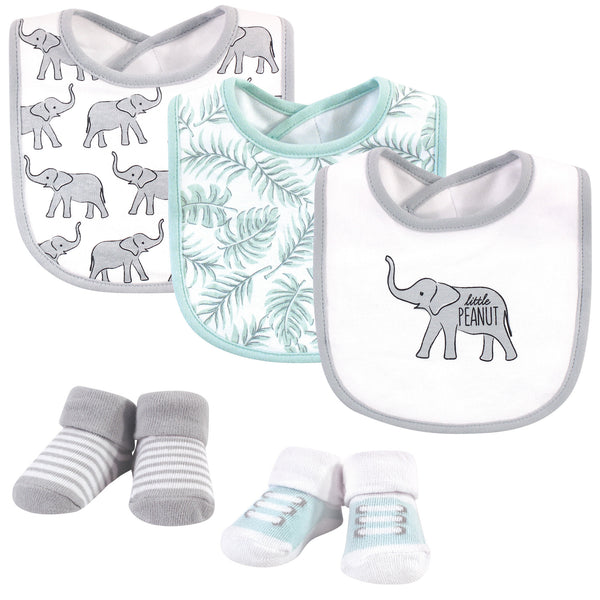 Hudson Baby Cotton Bib and Sock Set, Modern Safari Elephant