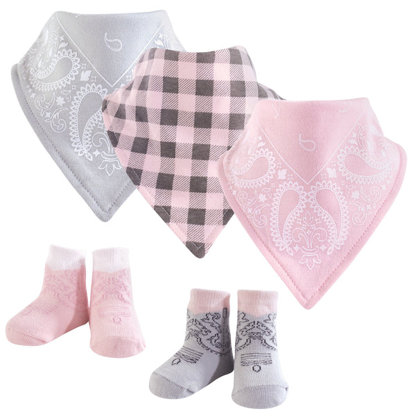 Hudson Baby Cotton Bib and Sock Set, Cowgirl