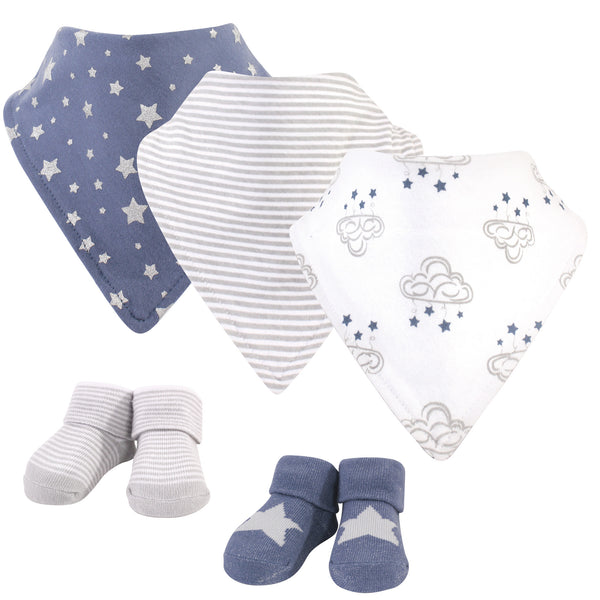 Hudson Baby Cotton Bib and Sock Set, Cloud Mobile Blue