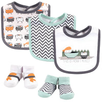 Hudson Baby Cotton Bib and Sock Set, Sushi