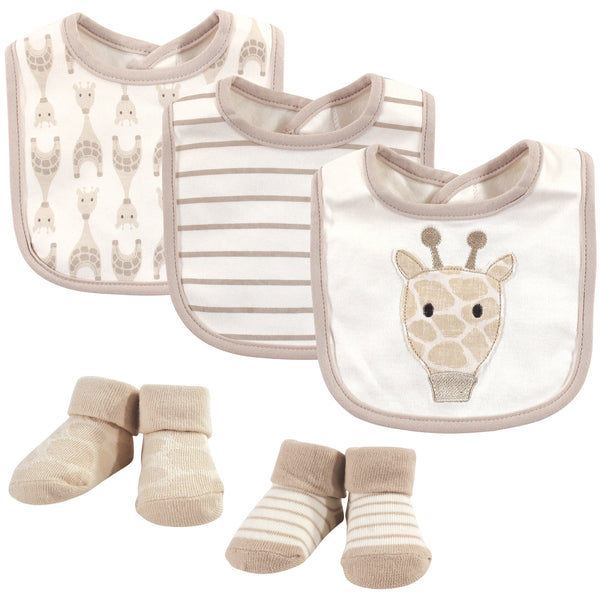 Hudson Baby Cotton Bib and Sock Set, Giraffe