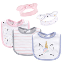 Hudson Baby Cotton Bib and Headband or Caps Set, Unicorn Lashes