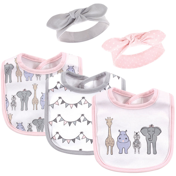 Hudson Baby Cotton Bib and Headband or Caps Set, Pink Safari