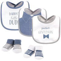 Hudson Baby Cotton Bib and Sock Set, Daddys Little Dude