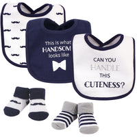 Hudson Baby Cotton Bib and Sock Set, Handle This Cuteness