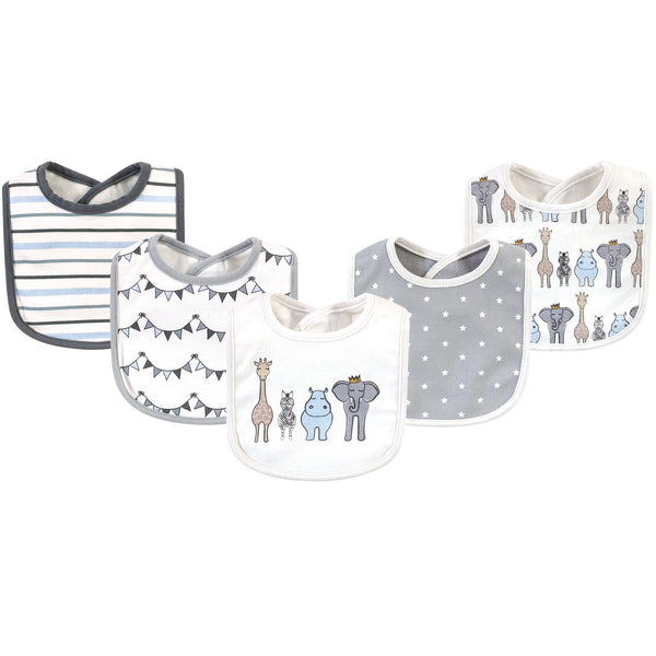 Hudson Baby Cotton Bibs, Royal Safari