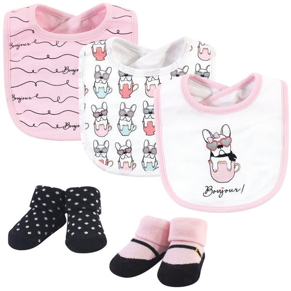 Hudson Baby Cotton Bib and Sock Set, Pink Bonjour