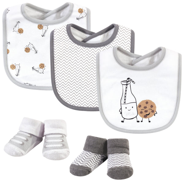Hudson Baby Cotton Bib and Sock Set, Milk And Cookies