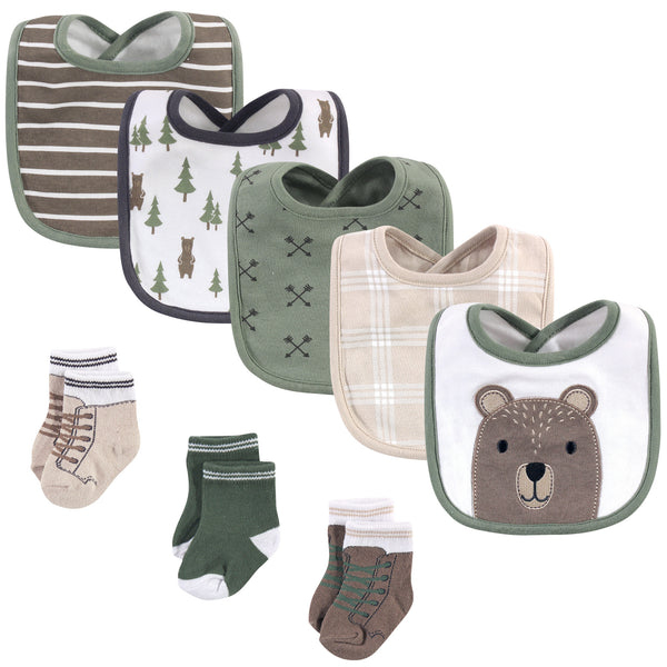Hudson Baby Cotton Bib and Sock Set, Forest Bear