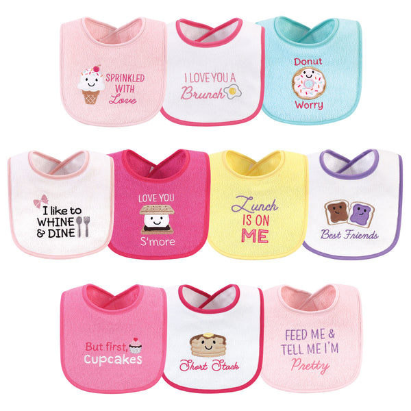 Hudson Baby Cotton Terry Drooler Bibs with Fiber Filling, Girl Ice Cream