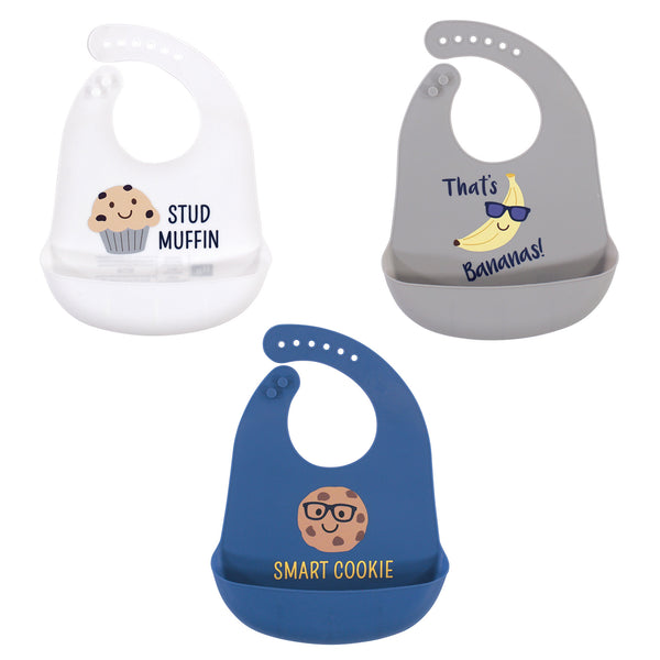 Hudson Baby Silicone Bibs, Stud Muffin 3-Pack