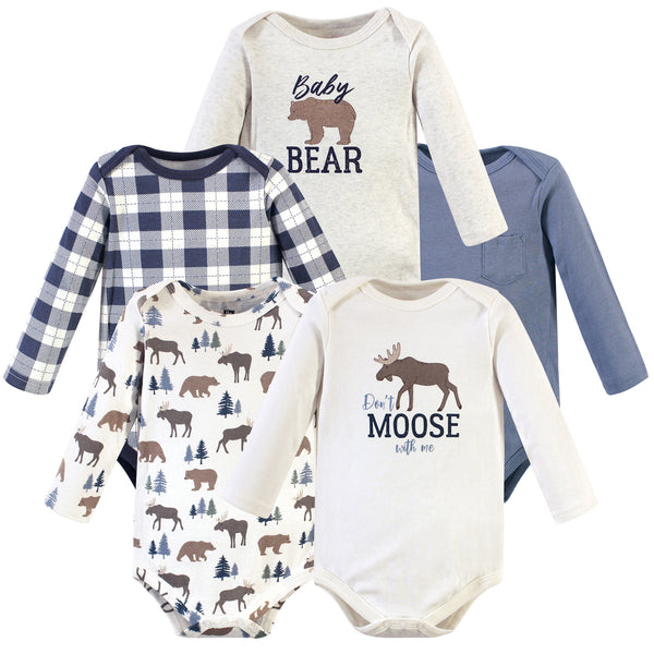 Hudson Baby Cotton Long-Sleeve Bodysuits, Moose Bear 5-Pack