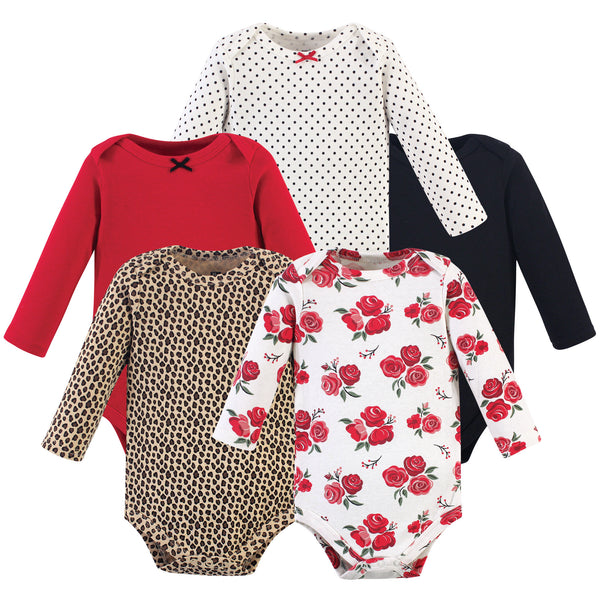 Hudson Baby Cotton Long-Sleeve Bodysuits, Basic Rose Leopard 5-Pack