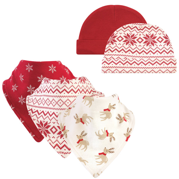 Hudson Baby Cotton Bib and Headband or Caps Set, Reindeer