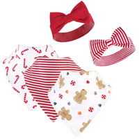 Hudson Baby Cotton Bib and Headband or Caps Set, Sugar Spice