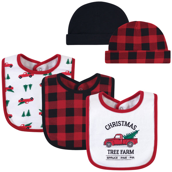 Hudson Baby Cotton Bib and Headband or Caps Set, Christmas Tree Farm