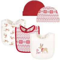 Hudson Baby Cotton Bib and Headband or Caps Set, Oh Deer