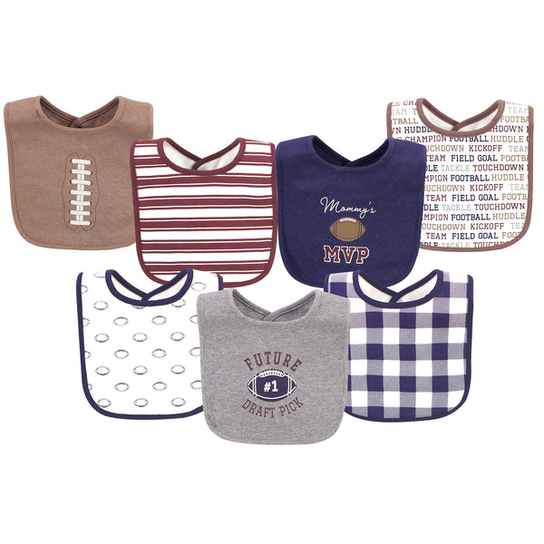 Hudson Baby Cotton Bibs, Football, One Size