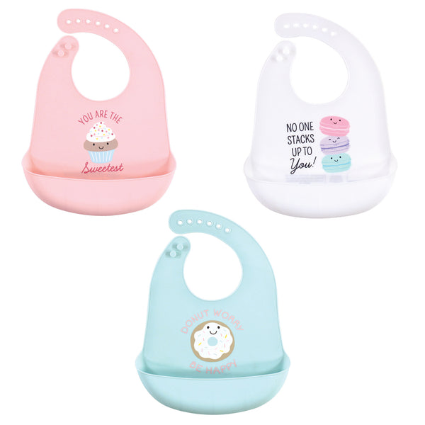 Hudson Baby Silicone Bibs, Sweetest Cupcake