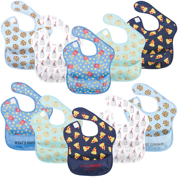 Hudson Baby Waterproof Polyester Bibs, Pizza Snacks