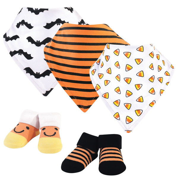 Hudson Baby Cotton Bib and Sock Set, Candy Corn