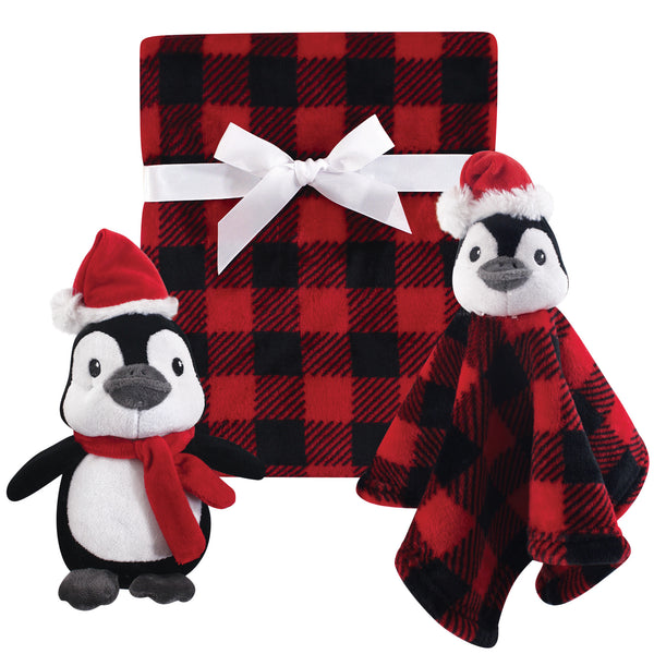 Hudson Baby Plush Blanket, Security Blanket and Toy Set, Holiday Penguin
